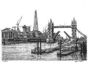 View of the Shard and Tower Bridge by Stephen Wiltshire MBE