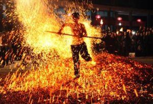 Lianhuo, or fire walking, in Pan'an county, China