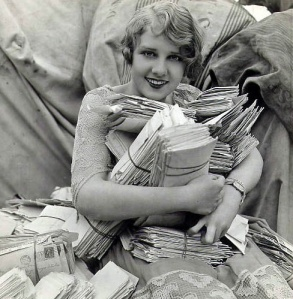 Anita Page and her pile of fan mail