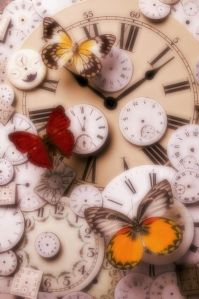 clock faces and butterflies