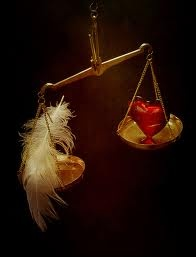 heart gets weighed against a feather