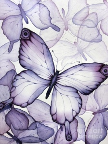 "Purple Butterflies"" watercolour painting by Christina Meeusen"