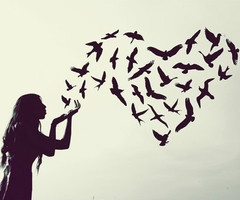 birds kisses heart