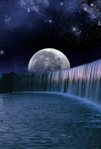Full Moon over waterfall