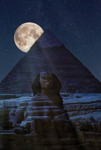 sphinx and full moon