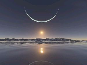 North Pole with the moon at its closest point