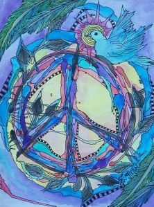 Peace on a Vine Singleton Hippie Art The by justgivemepeace