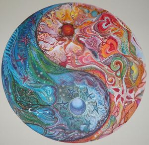 Igniting the Inner Fire Yin Yang Mandala by Moira Gil