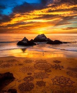sunset run, sand art, Ocean Beach, SF