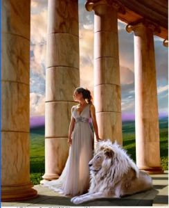 moon goddess and lion