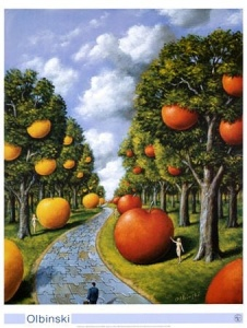 Rafal Olbinski - park with fruits