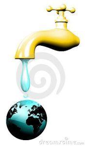 Water World With Golden Tap-3d © Bluedarkat