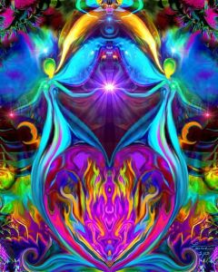 Violet Flame Heart Reiki Energy Twin Angels by primalpainter