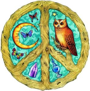 Declare World Peace American Hippie Art ~ Peace Sign Owl