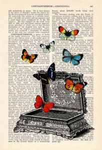 Butterfly collage Book print art