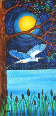 Blue Heron Moon, First Nation, Nature,blue water night by Shelagh Duffett