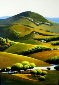 California Gold - Original Acrylic Painting by Roger Bean