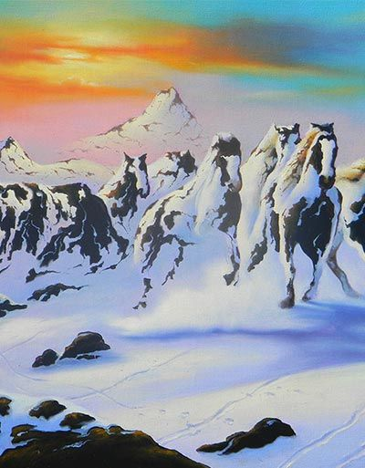 Horses in the Snow by Jim Warren
