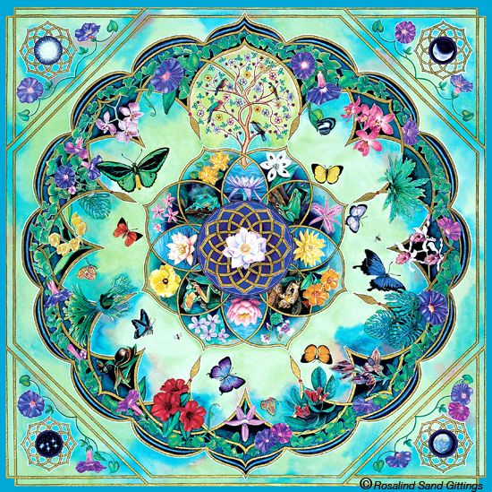 Morning Glory. Handpainted mandala by Rosalind Gittings