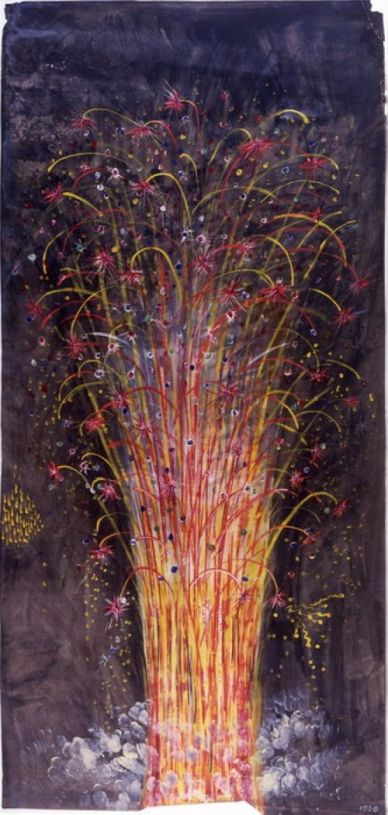ancient chinese painting fireworks