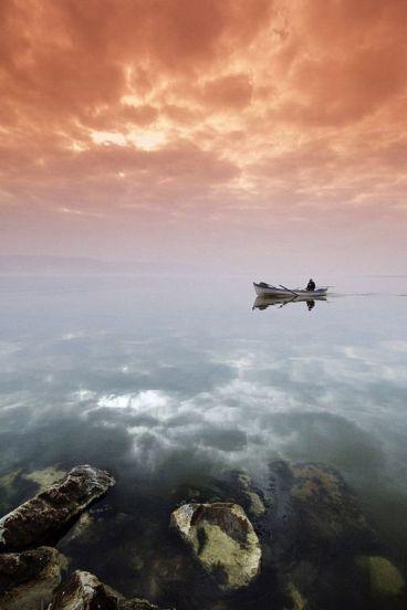 Misty day on lake - unknown artist