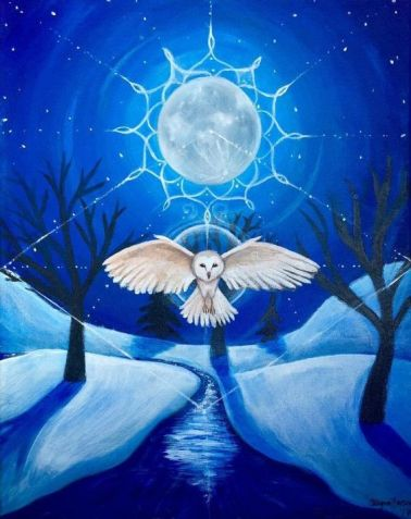 flight of the barn owl acrylic painting by allegra willo