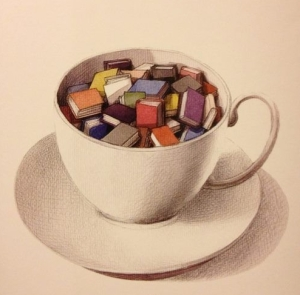 Cup of books - artist unknown